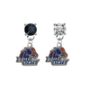 Boise State Broncos BLACK & CLEAR Swarovski Crystal Stud Rhinestone Earrings