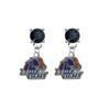 Boise State Broncos BLACK Swarovski Crystal Stud Rhinestone Earrings