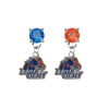 Boise State Broncos BLUE & ORANGE Swarovski Crystal Stud Rhinestone Earrings