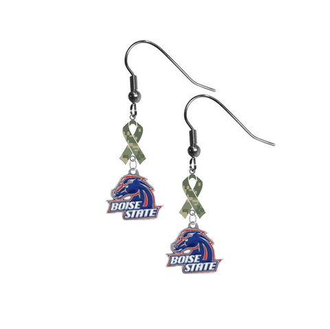 Boise State Broncos Salute to Service Camouflage Camo Ribbon Dangle Earrings