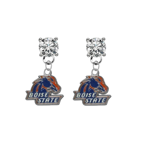 Boise State Broncos CLEAR Swarovski Crystal Stud Rhinestone Earrings