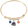Boise State Broncos Gold Expandable Wire Bangle Charm Bracelet