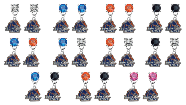 Boise State Broncos NCAA Swarovski Crystal Stud Rhinestone Earrings