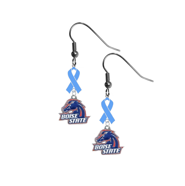 Boise State Broncos Prostate Cancer Awareness Light Blue Ribbon Dangle Earrings