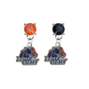 Boise State Broncos ORANGE & BLACK Swarovski Crystal Stud Rhinestone Earrings