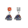 Boise State Broncos ORANGE & CLEAR Swarovski Crystal Stud Rhinestone Earrings