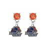 Boise State Broncos ORANGE Swarovski Crystal Stud Rhinestone Earrings