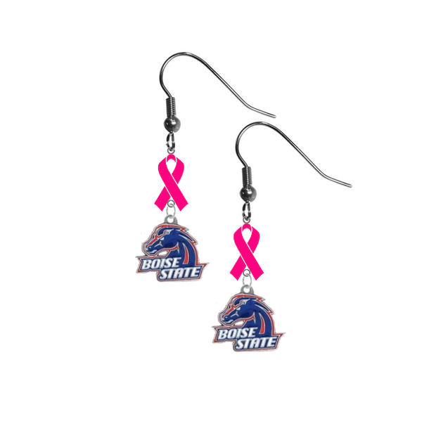 Boise State Broncos Breast Cancer Awareness Hot Pink Ribbon Dangle Earrings