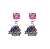 Boise State Broncos PINK Swarovski Crystal Stud Rhinestone Earrings
