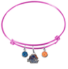 Boise State Broncos Pink Expandable Wire Bangle Charm Bracelet