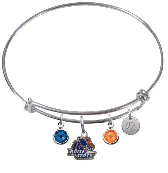 Boise State Broncos Baseball Expandable Wire Bangle Charm Bracelet