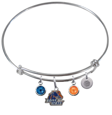 Boise State Broncos Basketball Expandable Wire Bangle Charm Bracelet