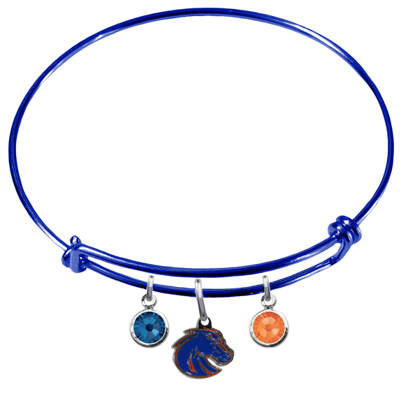 Boise State Broncos Style 2 Blue Expandable Wire Bangle Charm Bracelet