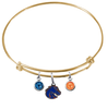 Boise State Broncos Style 2 Gold Expandable Wire Bangle Charm Bracelet
