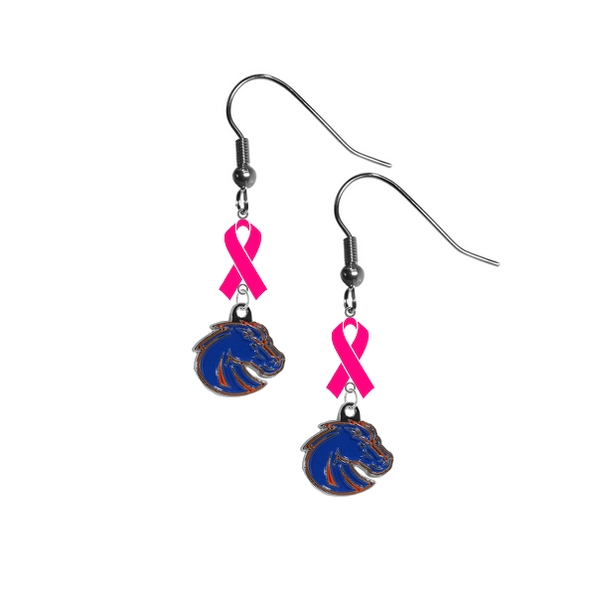 Boise State Broncos Style 2 Breast Cancer Awareness Hot Pink Ribbon Dangle Earrings