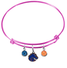 Boise State Broncos Style 2 Pink Expandable Wire Bangle Charm Bracelet