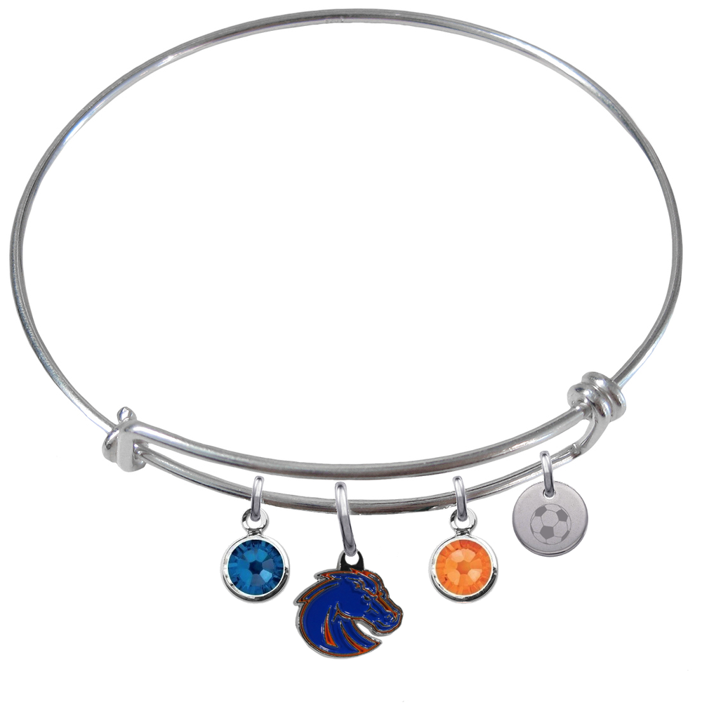 Boise State Broncos Style 2 Soccer Expandable Wire Bangle Charm Bracelet