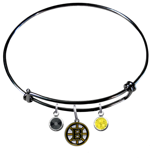 Boston Bruins Color Edition BLACK Expandable Wire Bangle Charm Bracelet