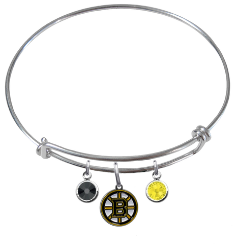 Boston Bruins NHL Expandable Wire Bangle Charm Bracelet