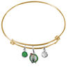 Boston Celtics GOLD Color Edition Expandable Wire Bangle Charm Bracelet