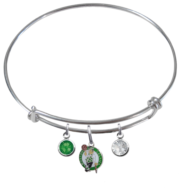Boston Celtics NBA Expandable Wire Bangle Charm Bracelet