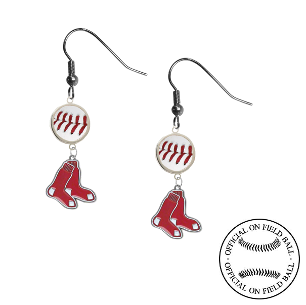 Boston Red Sox MLB Authentic Rawlings On Field Leather Baseball Dangle Earrings
