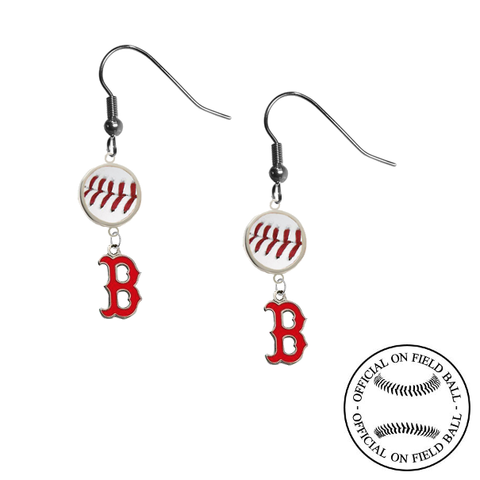 Boston Red Sox B Logo MLB Authentic Rawlings On Field Leather Baseball Dangle Earrings