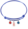 Boston Red Sox B Logo Blue MLB Expandable Wire Bangle Charm Bracelet