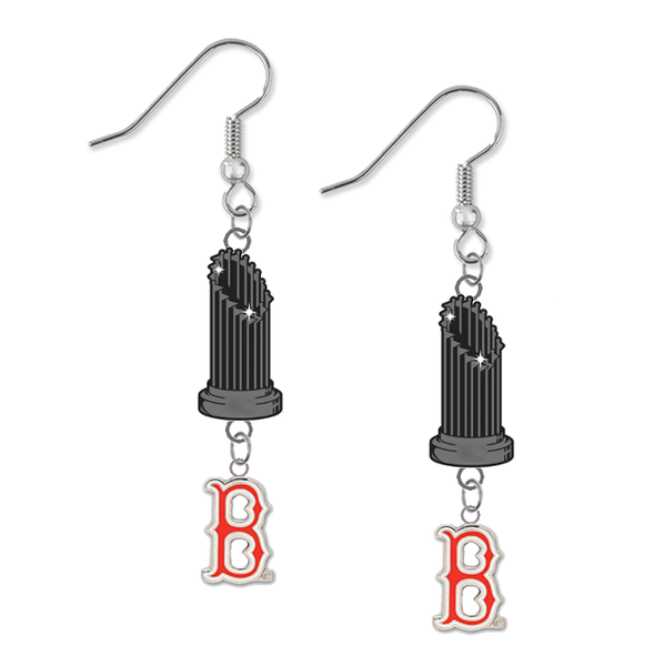 Boston Red Sox B Logo MLB World Series Trophy Dangle Earrings