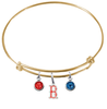 Boston Red Sox B Logo gold MLB Expandable Wire Bangle Charm Bracelet
