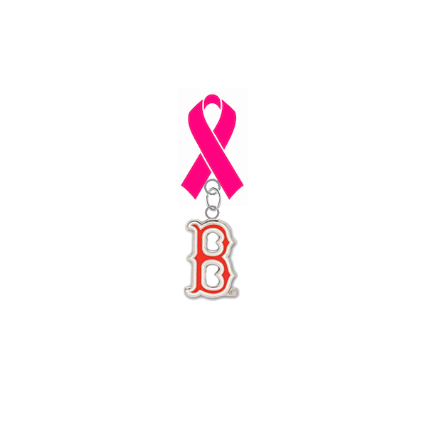 Boston Red Sox B Logo MLB Breast Cancer Awareness / Mothers Day Pink Ribbon Lapel Pin