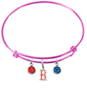 Boston Red Sox B Logo Pink MLB Expandable Wire Bangle Charm Bracelet
