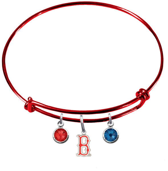 Boston Red Sox B Logo Red MLB Expandable Wire Bangle Charm Bracelet