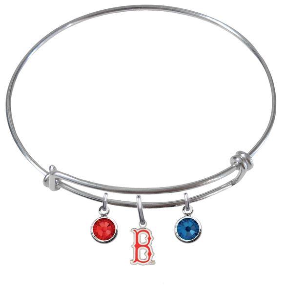 Boston Red Sox B Logo MLB Expandable Wire Bangle Charm Bracelet