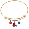 Boston Red Sox Gold MLB Expandable Wire Bangle Charm Bracelet