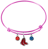 Boston Red Sox Pink MLB Expandable Wire Bangle Charm Bracelet