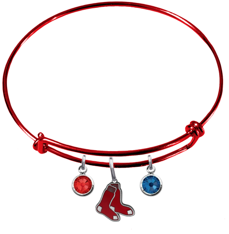 Boston Red Sox Red MLB Expandable Wire Bangle Charm Bracelet
