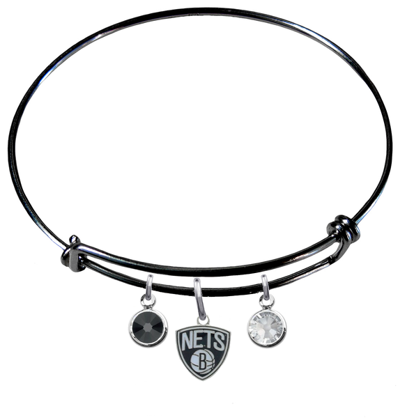 Brooklyn Nets BLACK Color Edition Expandable Wire Bangle Charm Bracelet