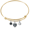 Brooklyn Nets GOLD Color Edition Expandable Wire Bangle Charm Bracelet