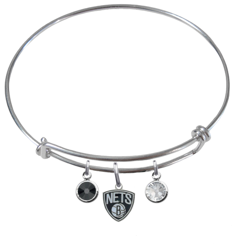 Brooklyn Nets NBA Expandable Wire Bangle Charm Bracelet