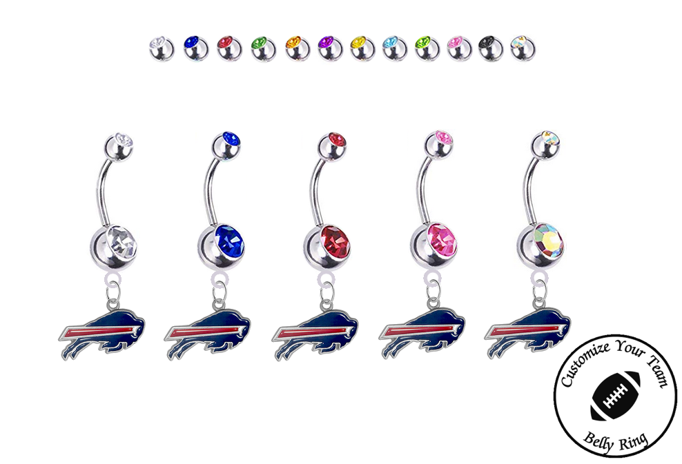 Buffalo Bills Silver Swarovski Belly Button Navel Ring - Customize Gem Colors