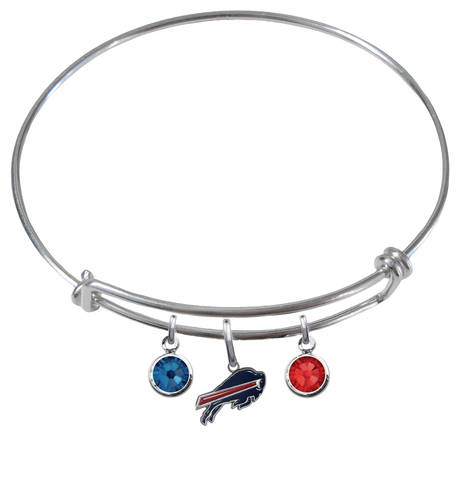 Buffalo Bills NFL Expandable Wire Bangle Charm Bracelet