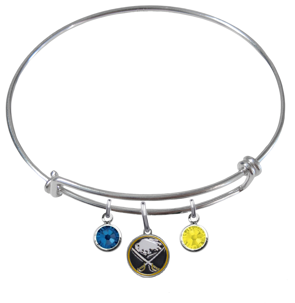 Buffalo Sabres NHL Expandable Wire Bangle Charm Bracelet