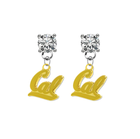California Golden Bears 2 CLEAR Swarovski Crystal Stud Rhinestone Earrings