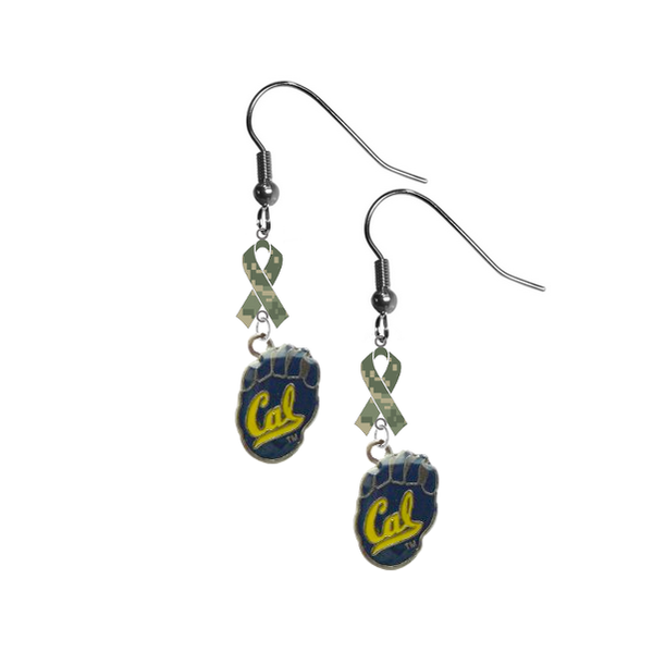 California Cal Golden Bears Salute to Service Camouflage Camo Ribbon Dangle Earrings