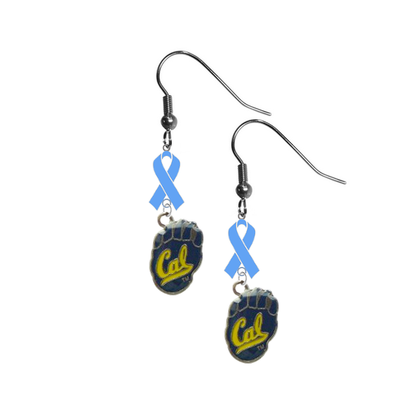 California Cal Golden Bears Prostate Cancer Awareness Light Blue Ribbon Dangle Earrings