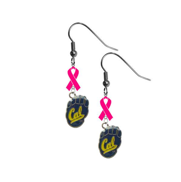California Cal Golden Bears Breast Cancer Awareness Hot Pink Ribbon Dangle Earrings