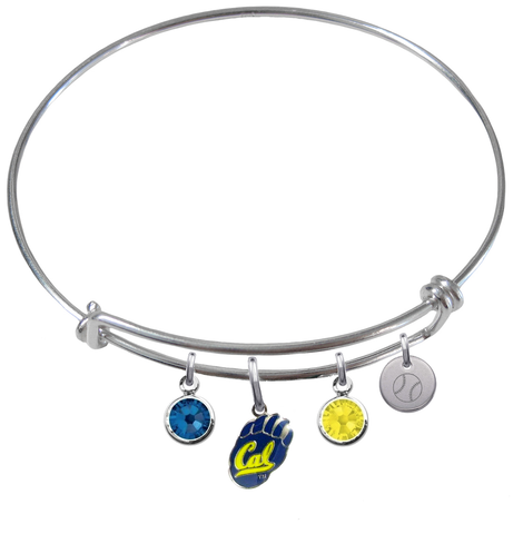 California Cal Bears Softball Expandable Wire Bangle Charm Bracelet