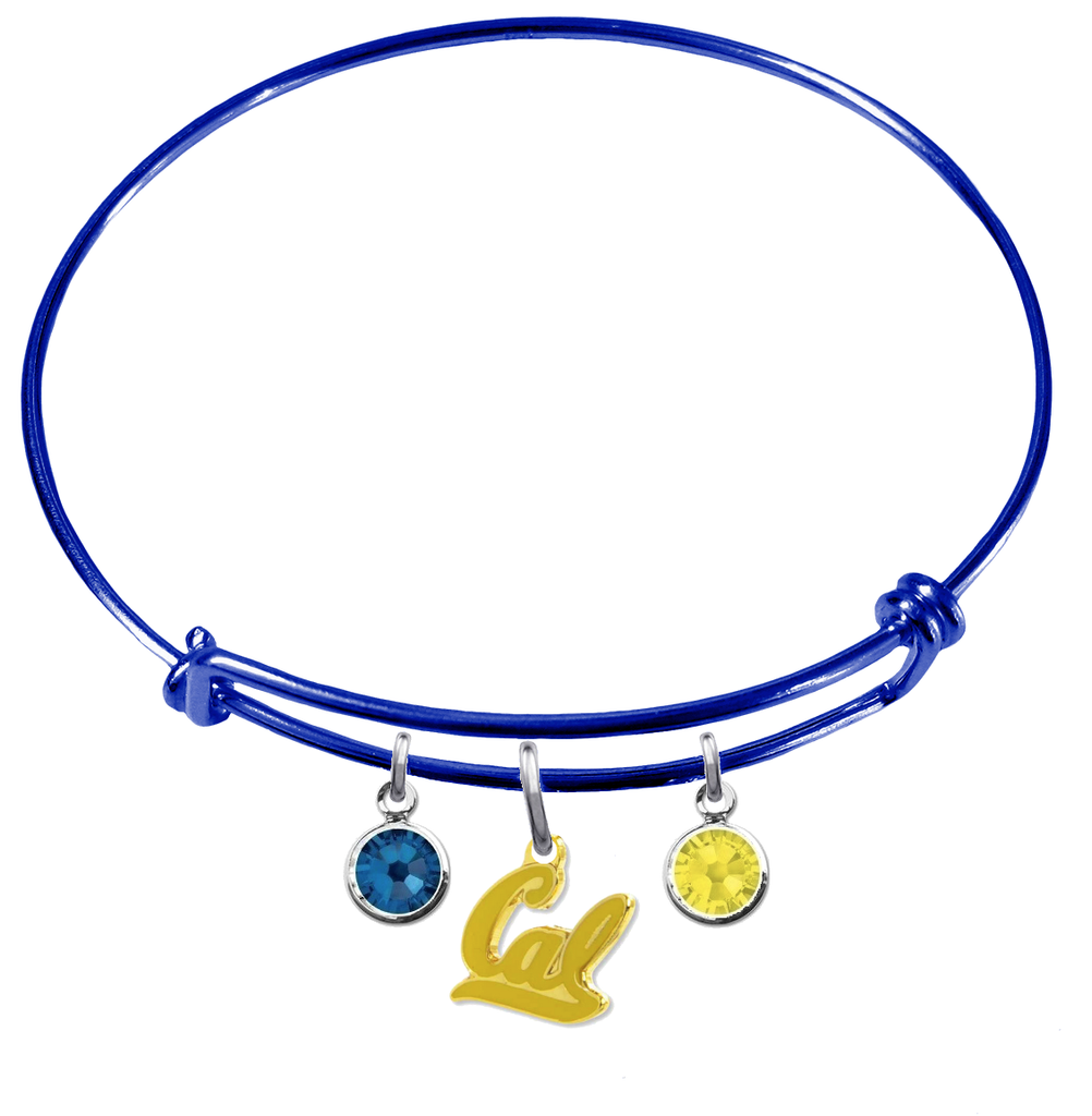 California Golden Bears Style 2 BLUE Expandable Wire Bangle Charm Bracelet