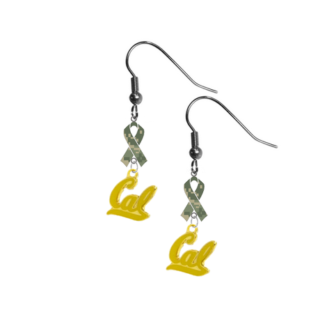 California Cal Golden Bears Style 2 Salute to Service Camouflage Camo Ribbon Dangle Earrings